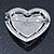 Silver Tone Dazzling Diamante Heart Brooch (Pink/ AB) - 40mm Length - view 5