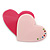 Deep Pink/ Baby Pink Austrian Crystal Double Heart Acrylic Brooch - 70mm Across - view 6