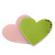 Baby Pink/ Lime Green Austrian Crystal Double Heart Acrylic Brooch - 70mm Across - view 4