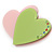 Baby Pink/ Lime Green Austrian Crystal Double Heart Acrylic Brooch - 70mm Across - view 2