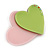 Baby Pink/ Lime Green Austrian Crystal Double Heart Acrylic Brooch - 70mm Across - view 3