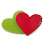 Lime Green/ Deep Pink Austrian Crystal Double Heart Acrylic Brooch - 70mm Across - view 5
