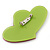 Lime Green/ Deep Pink Austrian Crystal Double Heart Acrylic Brooch - 70mm Across - view 6