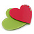 Lime Green/ Deep Pink Austrian Crystal Double Heart Acrylic Brooch - 70mm Across - view 3