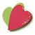 Lime Green/ Deep Pink Austrian Crystal Double Heart Acrylic Brooch - 70mm Across - view 2
