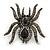 Large Black, Grey Crystal Spider Brooch In Black Tone Metal - 58mm Width