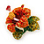 Red, Orange, Green Austrian Crystal Exotic Flower Brooch/ Pendant In Gold Plating - 35mm Length - view 2