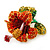 Red, Orange, Green Austrian Crystal Exotic Flower Brooch/ Pendant In Gold Plating - 35mm Length - view 3