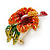 Red, Orange, Green Austrian Crystal Exotic Flower Brooch/ Pendant In Gold Plating - 35mm Length - view 4