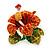 Red, Orange, Green Austrian Crystal Exotic Flower Brooch/ Pendant In Gold Plating - 35mm Length