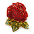 Burgundy Red, Green Swarovski Crystal 3D Rose Brooch/ Pendant In Gold Plating - 45mm Across