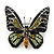Small Black, Green,Olive, Orange Austrian Crystal Butterfly Brooch In Silver Tone - 30mm Length