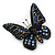 Small Black, Orange, Blue Austrian Crystal 'Monarch' Butterfly Brooch In Black Tone Metal - 30mm Length - view 5