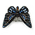 Small Black, Orange, Blue Austrian Crystal 'Monarch' Butterfly Brooch In Black Tone Metal - 30mm Length - view 4