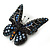 Small Black, Orange, Blue Austrian Crystal 'Monarch' Butterfly Brooch In Black Tone Metal - 30mm Length - view 2