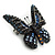 Small Black, Orange, Blue Austrian Crystal 'Monarch' Butterfly Brooch In Black Tone Metal - 30mm Length - view 3