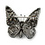Small Black, Orange, Blue Austrian Crystal 'Monarch' Butterfly Brooch In Black Tone Metal - 30mm Length - view 6