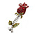 Small Red, Green Austrian Crystal 'Rose' Brooch In Rhodium Plating - 43mm L - view 2