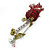 Small Red, Green Austrian Crystal 'Rose' Brooch In Rhodium Plating - 43mm L - view 5