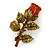 Red/ Green Swarovski Crystal 'Rose' Brooch In Antique Gold Tone - 43mm Across - view 6