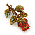 Red/ Green Swarovski Crystal 'Rose' Brooch In Antique Gold Tone - 43mm Across - view 2
