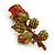 Red/ Green Swarovski Crystal 'Rose' Brooch In Antique Gold Tone - 43mm Across - view 4
