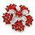 Bright Red Crystal Flower Brooch In Rhodium Plating - 45mm Diameter - view 2