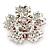 Bright Red Crystal Flower Brooch In Rhodium Plating - 45mm Diameter - view 3