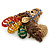 Multicoloured Austrian Crystal Circus Horse Head Brooch/ Pendant In Gold Tone - 70mm Across - view 5