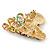 Multicoloured Austrian Crystal Circus Horse Head Brooch/ Pendant In Gold Tone - 70mm Across - view 3