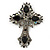 Statement Black, Hematite Austrian Crystal Cross Brooch/ Pendant In Gunmetal - 85mm Length