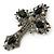 Statement Black, Hematite Austrian Crystal Cross Brooch/ Pendant In Gunmetal - 85mm Length - view 2