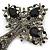 Statement Black, Hematite Austrian Crystal Cross Brooch/ Pendant In Gunmetal - 85mm Length - view 3