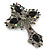 Statement Black, Hematite Austrian Crystal Cross Brooch/ Pendant In Gunmetal - 85mm Length - view 4