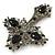 Statement Black, Hematite Austrian Crystal Cross Brooch/ Pendant In Gunmetal - 85mm Length - view 5