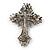 Statement Black, Hematite Austrian Crystal Cross Brooch/ Pendant In Gunmetal - 85mm Length - view 6