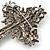 Statement Black, Hematite Austrian Crystal Cross Brooch/ Pendant In Gunmetal - 85mm Length - view 7