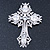 Statement Clear Austrian Crystal Cross Brooch/ Pendant In Silver Tone Metal - 85mm Length