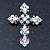 Victorian Clear, AB Austrian Crystal Cross Brooch/ Pendant In Silver Tone Metal - 58mm Length