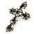 Victorian Black, Hematite Austrian Crystal Cross Brooch/ Pendant In Gunmetal - 58mm Length - view 2