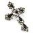 Victorian Black, Hematite Austrian Crystal Cross Brooch/ Pendant In Gunmetal - 58mm Length - view 3