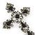 Victorian Black, Hematite Austrian Crystal Cross Brooch/ Pendant In Gunmetal - 58mm Length - view 4