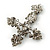 Victorian Black, Hematite Austrian Crystal Cross Brooch/ Pendant In Gunmetal - 58mm Length - view 5