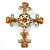 Statement Topaz, Citrine Crystal Filigree Cross Brooch/ Pendant In Gold Tone Metal - 58mm Length
