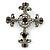 Statement Black/ Hematite Austrian Crystal Filigree Cross Brooch/ Pendant In Gunmetal - 58mm Length