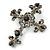 Statement Black/ Hematite Austrian Crystal Filigree Cross Brooch/ Pendant In Gunmetal - 58mm Length - view 2