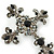 Statement Black/ Hematite Austrian Crystal Filigree Cross Brooch/ Pendant In Gunmetal - 58mm Length - view 3