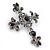Statement Black/ Hematite Austrian Crystal Filigree Cross Brooch/ Pendant In Gunmetal - 58mm Length - view 4