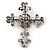 Statement Black/ Hematite Austrian Crystal Filigree Cross Brooch/ Pendant In Gunmetal - 58mm Length - view 5