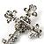 Statement Black/ Hematite Austrian Crystal Filigree Cross Brooch/ Pendant In Gunmetal - 58mm Length - view 6